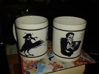 Two mugs with Blackbeak/Sortnaeb and Gother
